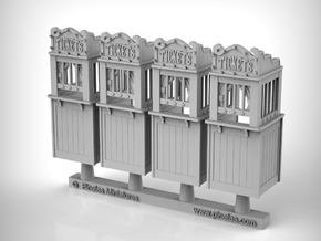 Carnival Ticket Booth 01. 1:87 Scale (HO) x4 Units in Smooth Fine Detail Plastic