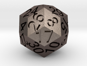 D30 Solid in Polished Bronzed Silver Steel