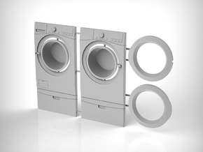 Washer & Dryer Set 01. 1:12 Scale  in White Natural Versatile Plastic