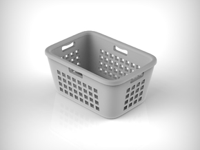 Laundry Basket 01. 1:12 Scale in White Natural Versatile Plastic