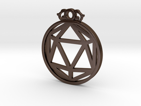 D20 Pendant in Polished Bronze Steel