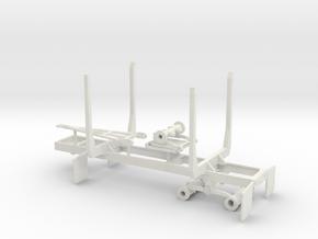 1/64th Mule Train tandem axle 20' log trailer in White Natural Versatile Plastic
