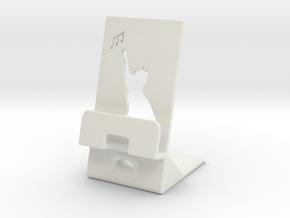Smartphone Charging Station Cat in White Natural Versatile Plastic