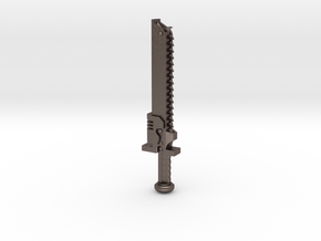 Action Figure Chainsword - Left Handed in Polished Bronzed-Silver Steel
