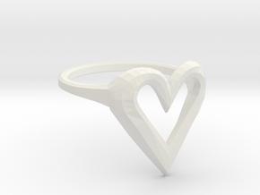 FLYHIGH: Skinny Heart Ring 15mm in White Natural Versatile Plastic