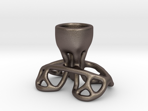 Arc Candle Holder (single) in Polished Bronzed Silver Steel