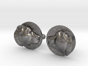 Bear Head Cufflinks in Polished Nickel Steel