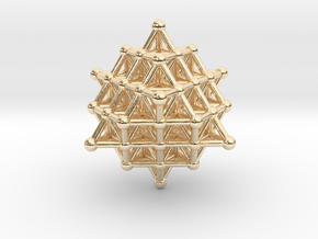 Tetrahedron atom array in 14k Gold Plated Brass