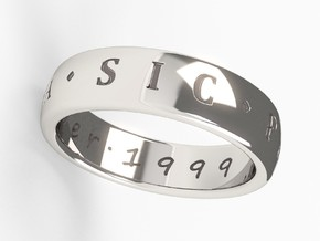 US 13.5 Custom Ring Uncharted 3 in Polished Silver