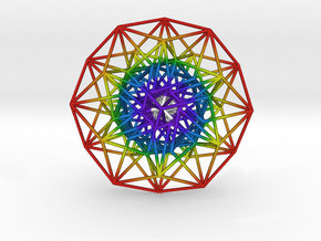 Toroidal 6D Hypercube 200mm diameter Rainbow in Natural Full Color Sandstone