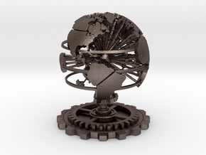 Steampunk World Small 6x6x7 in Polished Bronzed Silver Steel