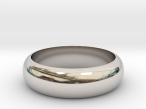 Rounded Band Ring in Rhodium Plated Brass: 8 / 56.75