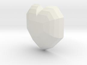 Heart-T in White Natural Versatile Plastic