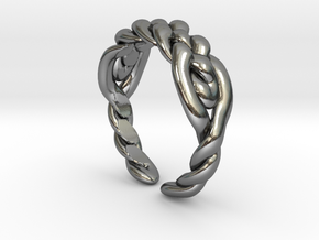 Knitted celtic ring in Polished Silver