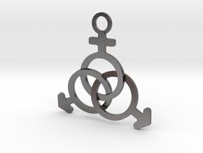 Kinky steel MMF pendant  in Polished Nickel Steel