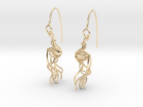 Indian Peacock Earring in 14k Gold Plated Brass