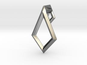 Diamond Pendant Earring in Polished Silver