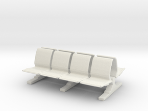 8 Waiting Room Seats 1/72 in White Natural Versatile Plastic