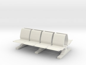 8 Waiting Room Seats 1/12 in White Natural Versatile Plastic