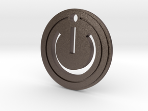 Power Gaming Pendant in Polished Bronzed-Silver Steel
