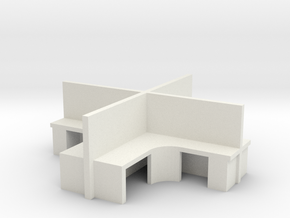 2x2 Office Cubicle 1/76 in White Natural Versatile Plastic