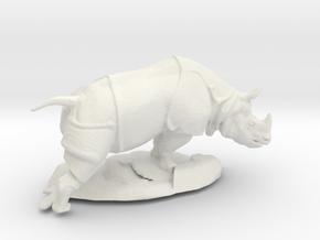 HO Scale Rhino in White Natural Versatile Plastic