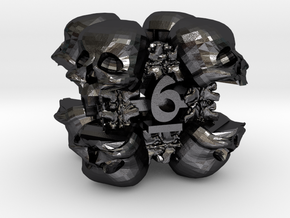 Necromancer's D6 in Polished and Bronzed Black Steel