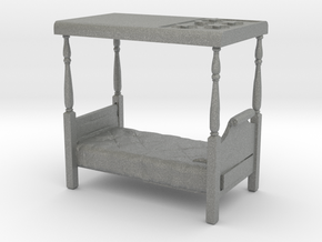 HO Scale Four Poster Bed in Gray PA12