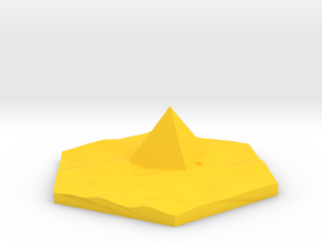 Pyramid in desert terrain hex tile counter in Yellow Processed Versatile Plastic