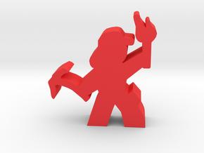 Lady Adventurer meeple, iceaxe, torch, cap in Red Processed Versatile Plastic
