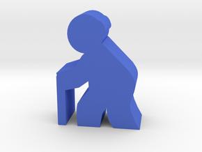 Old Man meeple, walking in Blue Processed Versatile Plastic