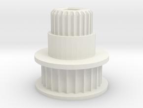 Square Bore Pulley for   M3D / ThreeD Nano v4 in White Natural Versatile Plastic