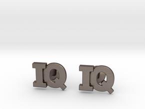 Monogram Cufflinks IQ in Polished Bronzed Silver Steel