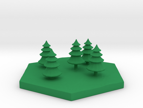 Conifer woods terrain hex tile counter in Green Processed Versatile Plastic