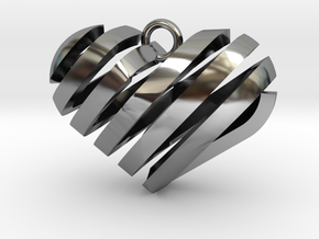 Spiral Heart in Antique Silver