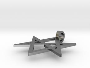 Unicursal Hexagram Sigil Pendant in Polished Silver