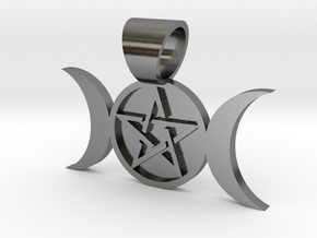 Triple Goddess Pendant in Polished Silver