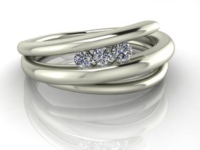 Arty dress ring 2 NO STONES SUPPLIED in Fine Detail Polished Silver