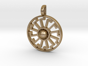 sonnenrad variant pendant in Polished Gold Steel