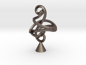 Twisted Cleff in Polished Bronzed Silver Steel