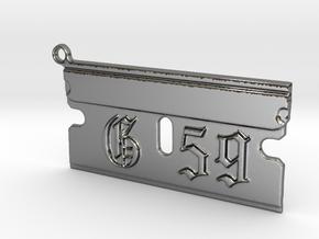 G59 Razor Blade Pendant Suicide Boys in Fine Detail Polished Silver