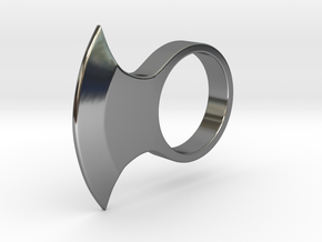 Axe Ring _ A in Fine Detail Polished Silver: 8 / 56.75