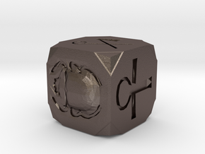 Egyptian Themed Die in Polished Bronzed Silver Steel