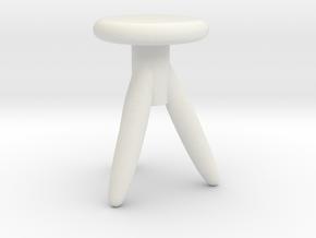 Miniature 1:24 Chair in White Natural Versatile Plastic: 1:24