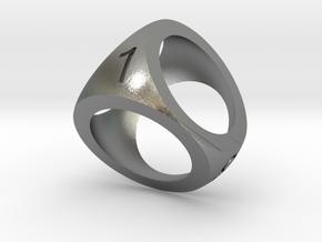 Mini D4 Shell Dice Pendant in Natural Silver