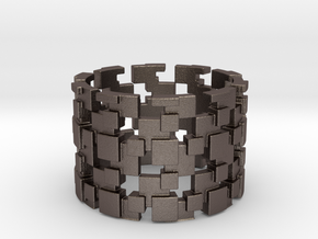 Borg Cube Ring Size 12 in Polished Bronzed Silver Steel