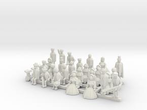 Listowel Lartigue Figure Set (N Scale) in White Natural Versatile Plastic