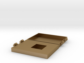 Hinged Engraveable Ring Box For Proposals in Polished Gold Steel