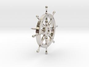 Captain's Wheel Tie Pin in Rhodium Plated Brass