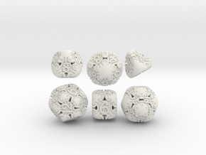 Art Nouveau Dice Set in White Natural Versatile Plastic